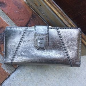 Fossil Silver Leather Wallet
